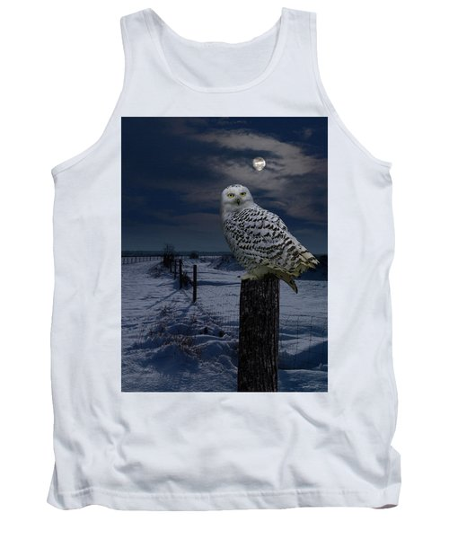 Snowy Owl On A Winter Night Tank Top