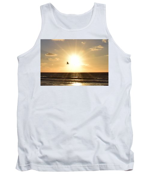 Soaring Seagull Sunset Over Imperial Beach Tank Top by Karen J Shine