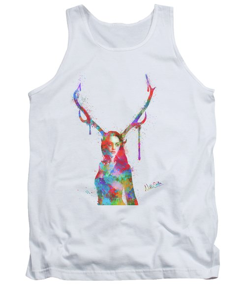 Tank Top featuring the digital art Song Of Elen Of The Ways Antlered Goddess by Nikki Marie Smith