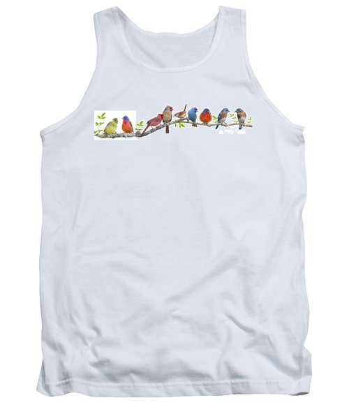 Songbirds On A Leafy Branch Tank Top