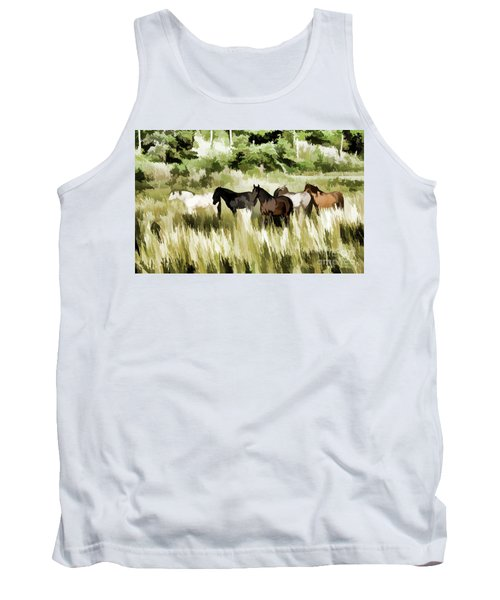 Tank Top featuring the mixed media South Dakota Herd Of Horses by Wilma Birdwell
