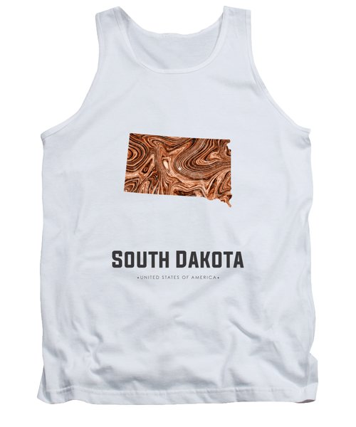 South Dakota Map Art Abstract In Brown Tank Top