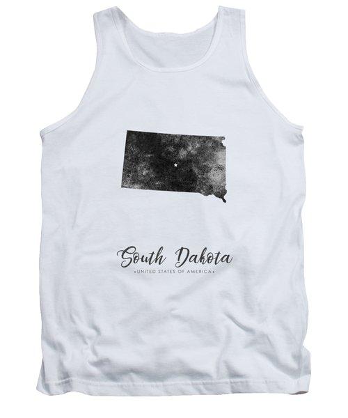 South Dakota State Map Art - Grunge Silhouette Tank Top