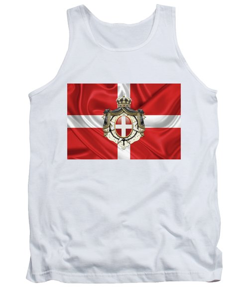 Sovereign Military Order Of Malta - S M O M Coat Of Arms Over Flag Tank Top