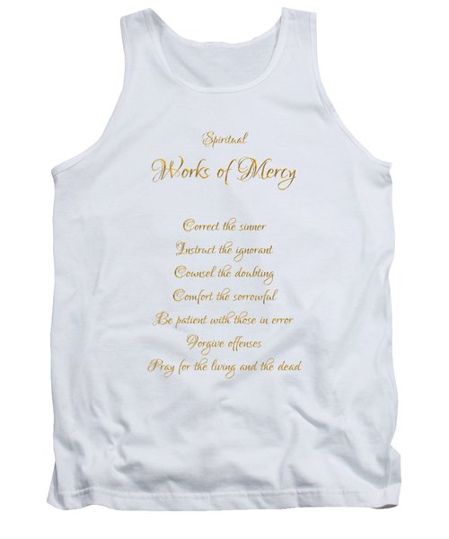 Spiritual Works Of Mercy White Background Tank Top