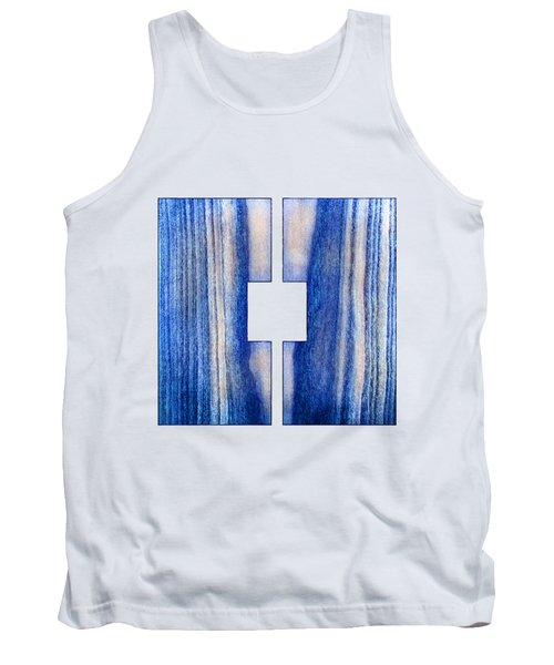 Split Square Blue Tank Top