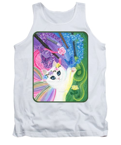 Tank Top featuring the painting Springtime Magic - White Fairy Cat by Carrie Hawks
