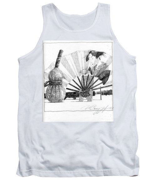 Spirit Of Japan. Pumpkin Jar And Fan Tank Top