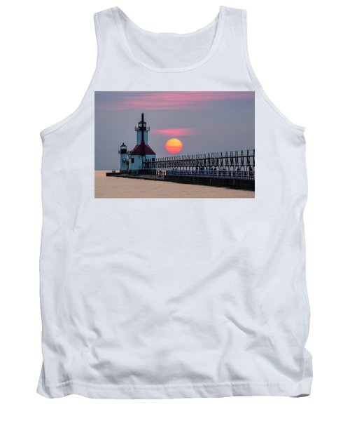 Tank Top featuring the photograph St. Joseph Lighthouse At Sunset by Adam Romanowicz