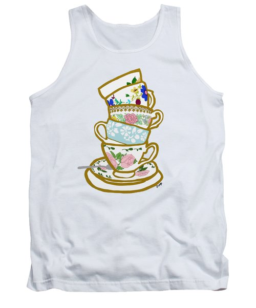 Stacked Teacups Tank Top by Priscilla Wolfe