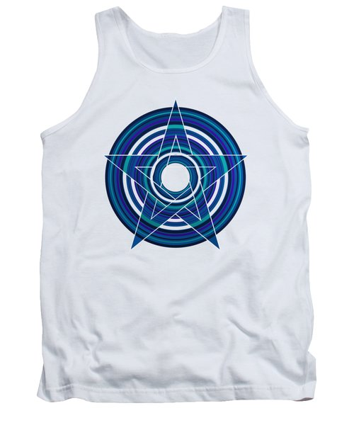 Tank Top featuring the digital art Star Marine Over Concentric Circles by Alberto RuiZ