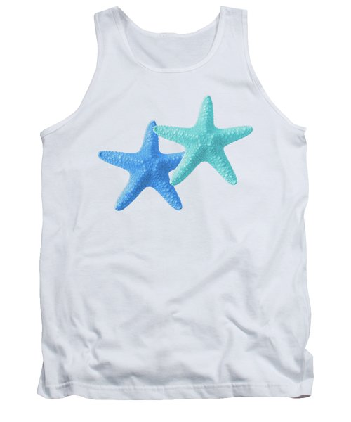 Starfish Blue And Turquoise On White Tank Top