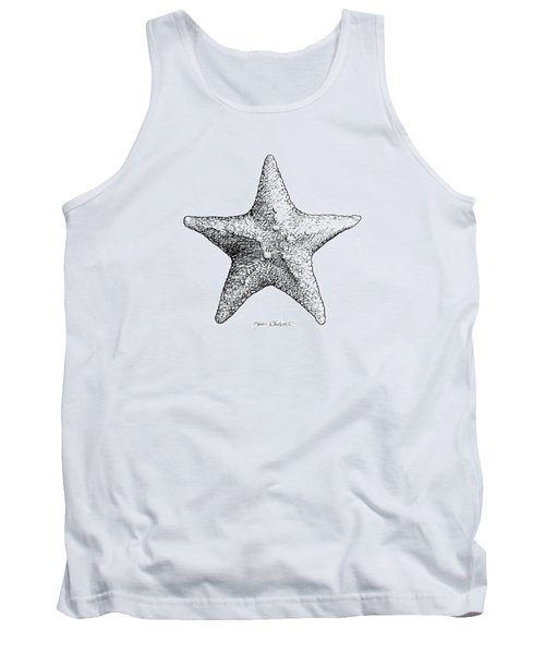 Tank Top featuring the drawing Starfish Drawing Black And White Sea Star by Karen Whitworth