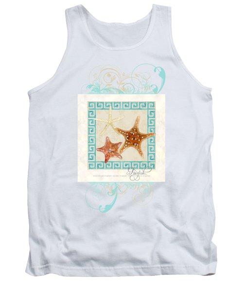 Starfish Greek Key Pattern W Swirls Tank Top