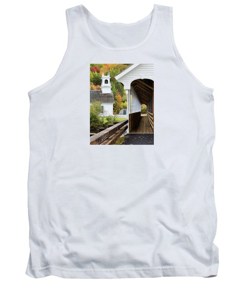 Tank Top featuring the photograph Stark, Nh Union Church And Covered Bridge by Betty Denise