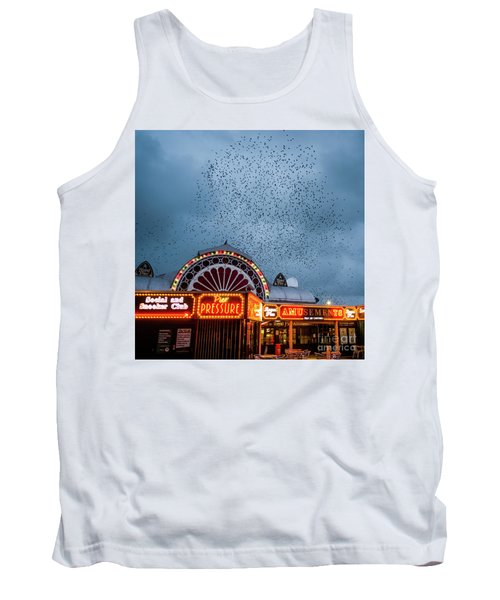 Starlings Over The Neon Lights Of Aberystwyth Pier Tank Top