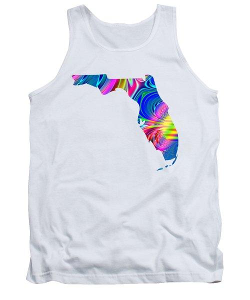 State Of Florida Map Rainbow Splash Fractal Tank Top
