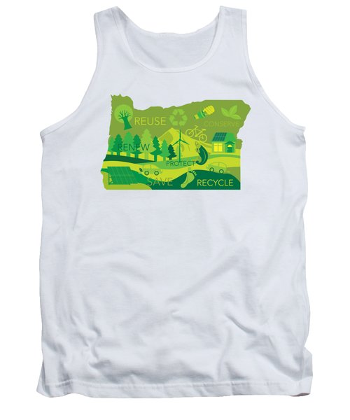 State Of Oregon Map Environment Eco Outline Tank Top