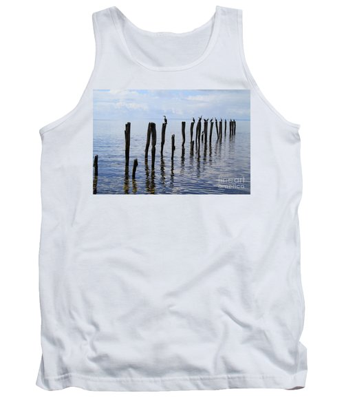 Tank Top featuring the photograph Sticks Out To Sea by Stephen Mitchell