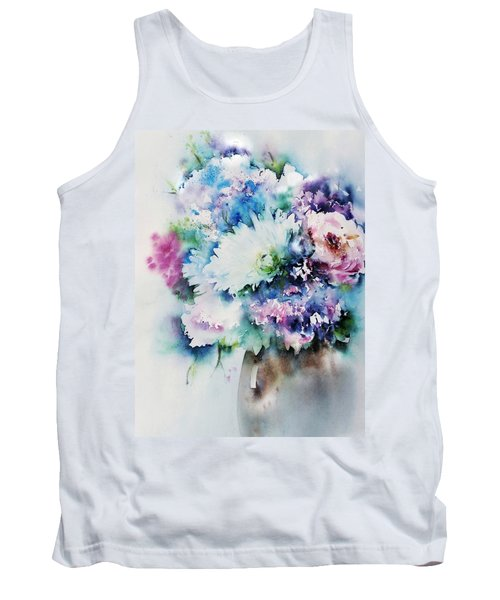 Still Life Rose Bouquet Watercolour Tank Top