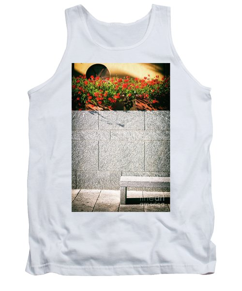 Tank Top featuring the photograph Stone Bench With Flowers by Silvia Ganora