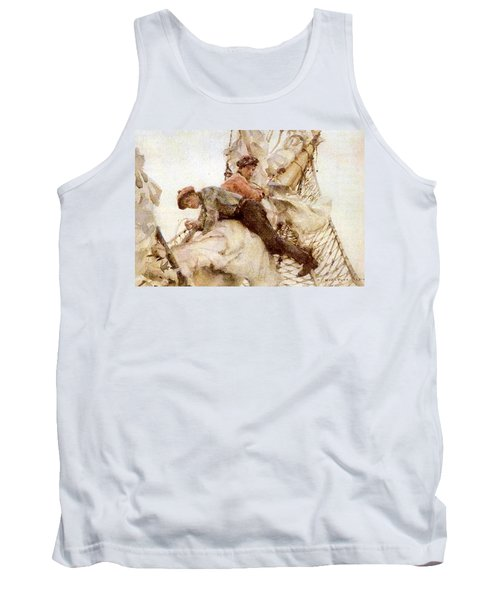 Tank Top featuring the painting Stowing The Headsails  by Henry Scott Tuke