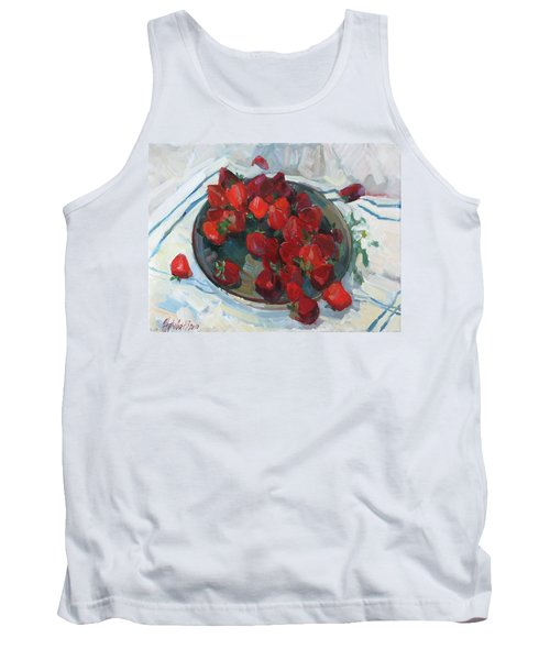 Strawberry On White Tank Top