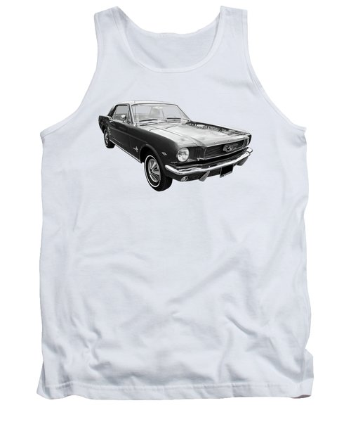 Stunning 1966 Mustang In Black And White Tank Top