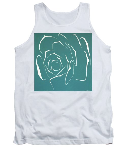 Tank Top featuring the painting Succulent In Turquoise by Ben Gertsberg