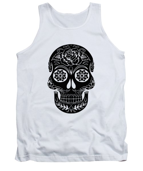 Sugar Skull Day Of The Dead Black Ink Tank Top