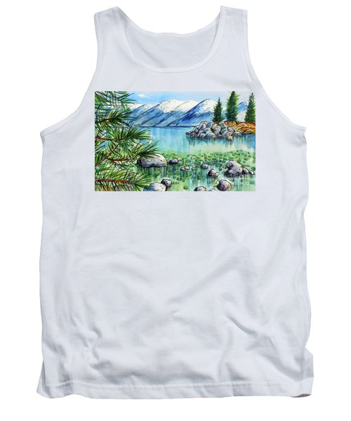 Tank Top featuring the painting Summer At Lake Tahoe by Terry Banderas