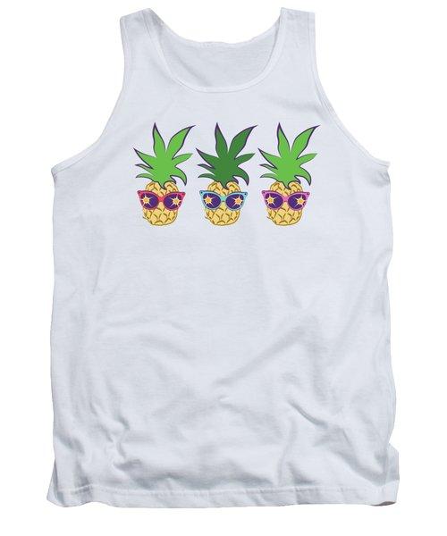 Summer Pineapples Wearing Retro Sunglasses Tank Top