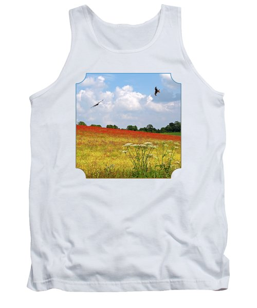 Summer Spectacular - Red Kites Over Poppy Fields - Square Tank Top