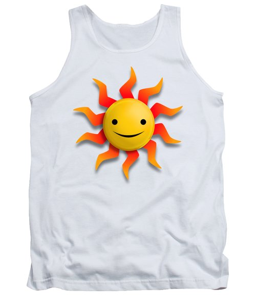 Tank Top featuring the digital art Sun Face No Background by John Wills