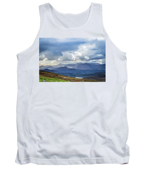 Tank Top featuring the photograph Sun Rays Piercing Through The Clouds Touching The Irish Landscap by Semmick Photo