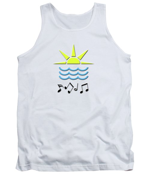 Sun, Sea And Music Tank Top by Linda Prewer