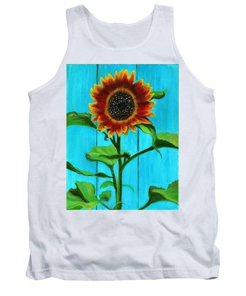 Sunflower On Blue Tank Top