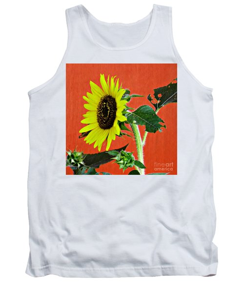 Tank Top featuring the photograph Sunflower On Red 2 by Sarah Loft
