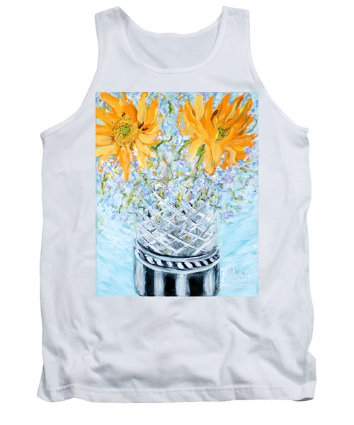 Sunflowers In A Vase. Painting Tank Top