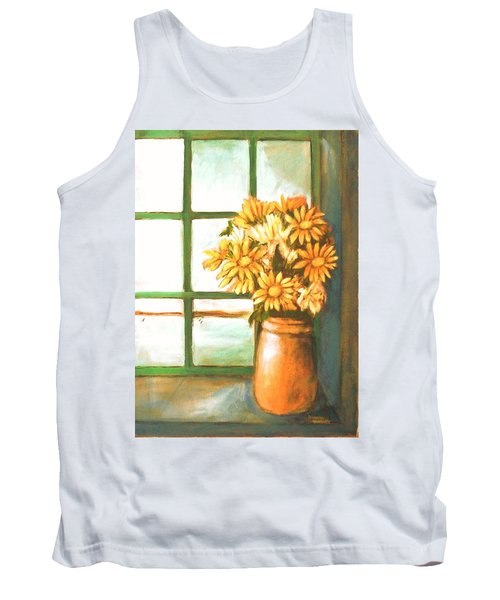 Tank Top featuring the painting Sunflowers In Window by Winsome Gunning