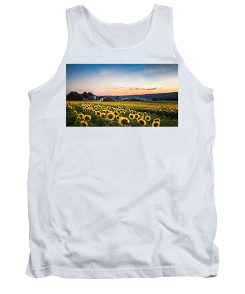 Tank Top featuring the photograph Sunflowers, Moon And Stars by Eduard Moldoveanu