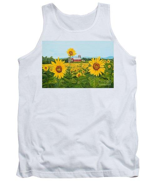 Sunflowers On Route 45 - Pennsylvania- Autumn Glow Tank Top