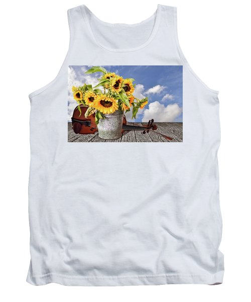 Sunflowers With Violin Tank Top