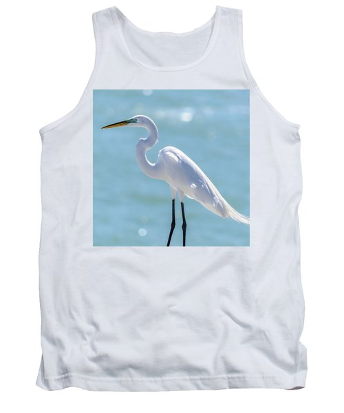 Tank Top featuring the photograph Sunny Egret by Steven Sparks