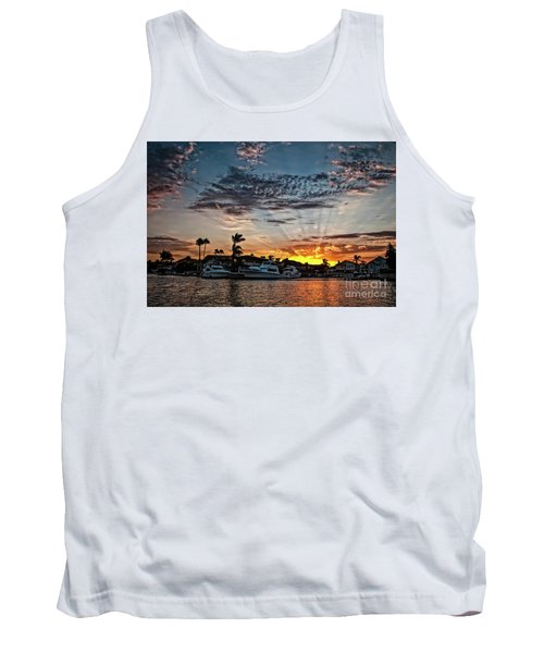 Sunrays Over Huntington Harbour Tank Top by Peter Dang