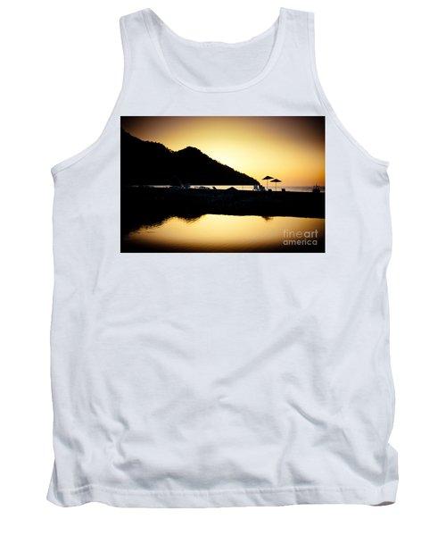 Sunrise At Sea Coast Brown Tank Top