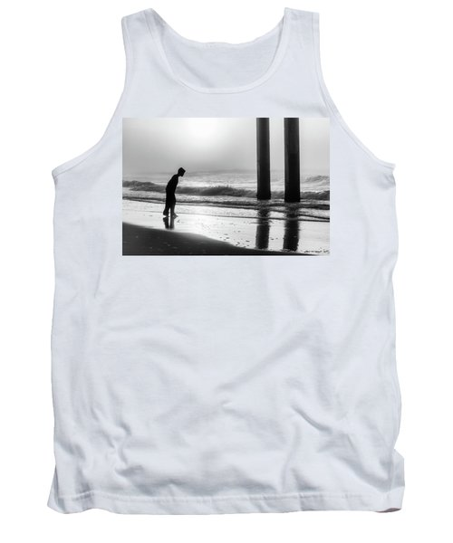 Tank Top featuring the photograph Sunrise Boy In Foggy Beach by John McGraw