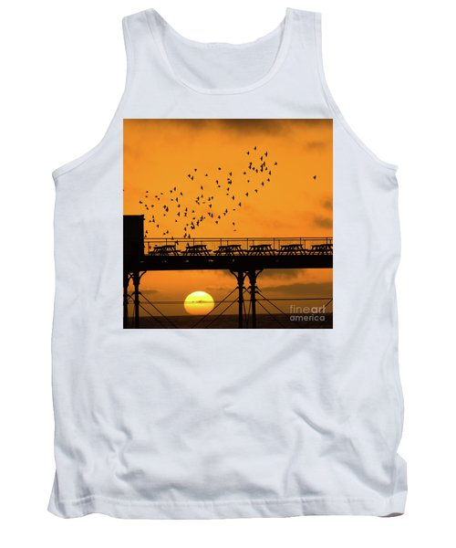 Sunset And Starlings In Aberystwyth Wales Tank Top