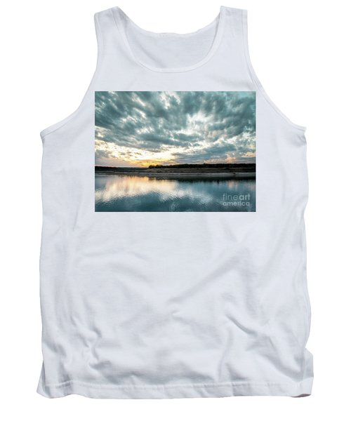Sunset Behind Small Hill With Storm Clouds In The Sky Tank Top