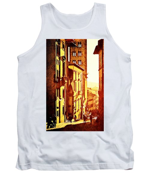 Tank Top featuring the digital art Sunset In Arezzo by Andrea Barbieri